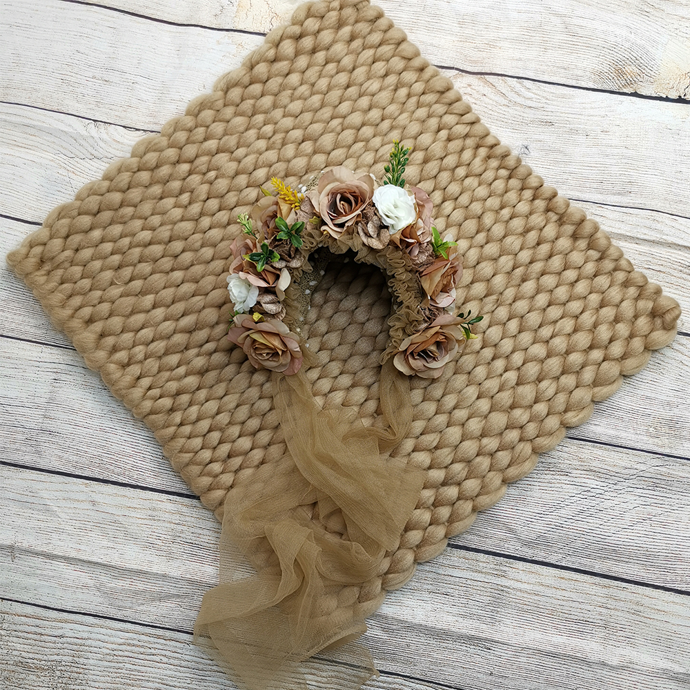 Hair Accessories Baby Girl Hats Lacework Headbands+45*40cm Handcraft Soft Baby Blanket Basket For Newborn Photography Props