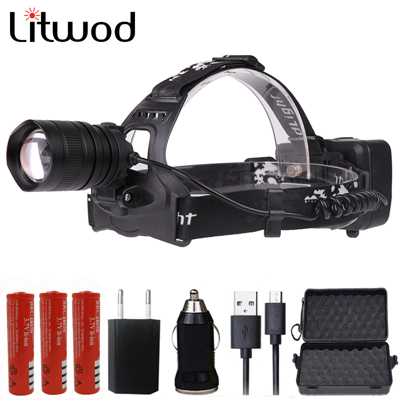 Litwod Z40 50000LM XHP70 LED Headlamp Powerful Headlight Zoom Lens 18650 Rechargeable Battery Head Flashlight Lamp Torch