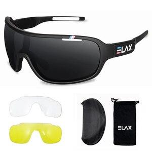Image 2 - ELAX gafas de sol deportivas para hombre y mujer, lentes para ciclismo de montaña, con protección UV400, 3 lentes, 2019