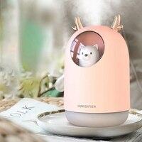300ML Nette Pet Ultraschall luftbefeuchter Aroma Ätherisches Öl Diffusor für Home Auto USB Fogger Mist Maker mit LED nacht Lampe Pin Luftbefeuchter    -