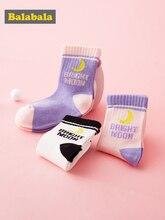 Детские носки Balabala, Осенние тонкие хлопковые носки для малышей, милые дышащие хлопковые носки для девочек, три пары