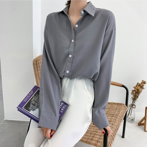 Satin Shirt 2019 Autumn Women Long Sleeve Button Shirts Oversize Tops Solid Color Ladies Tops