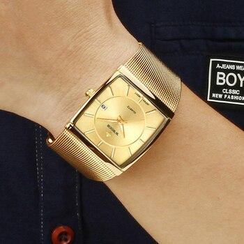 WWOOR Luxury Gold Watches For Men Square Ultra Thin Watch Man Quartz Steel Mesh Waterproof Wristwatch Box Gift relogio masculino top luxury brand wwoor men s ultra thin watches men casual gold mesh band quartz watch waterproof wristwatch relogio masculino
