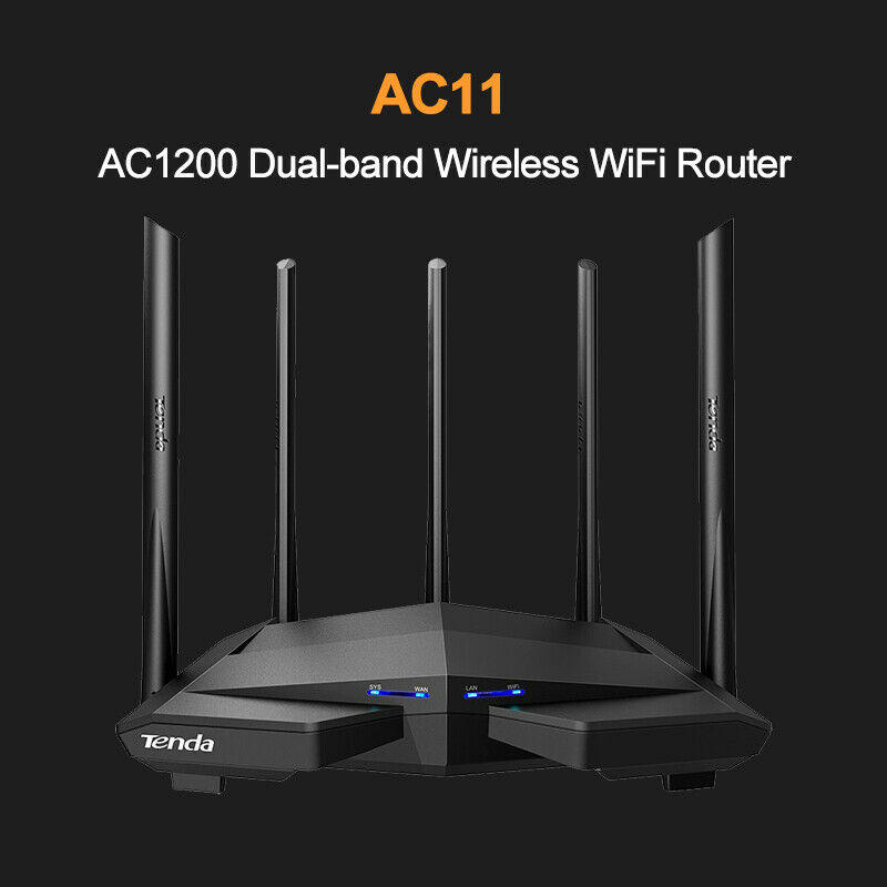 Tenda Top AC11 Gigabit Dual-Band AC1200Mbps With Box Wireless Router 5G WiFi Repeater With 5 High Gain Antennas Wider Coverage title=