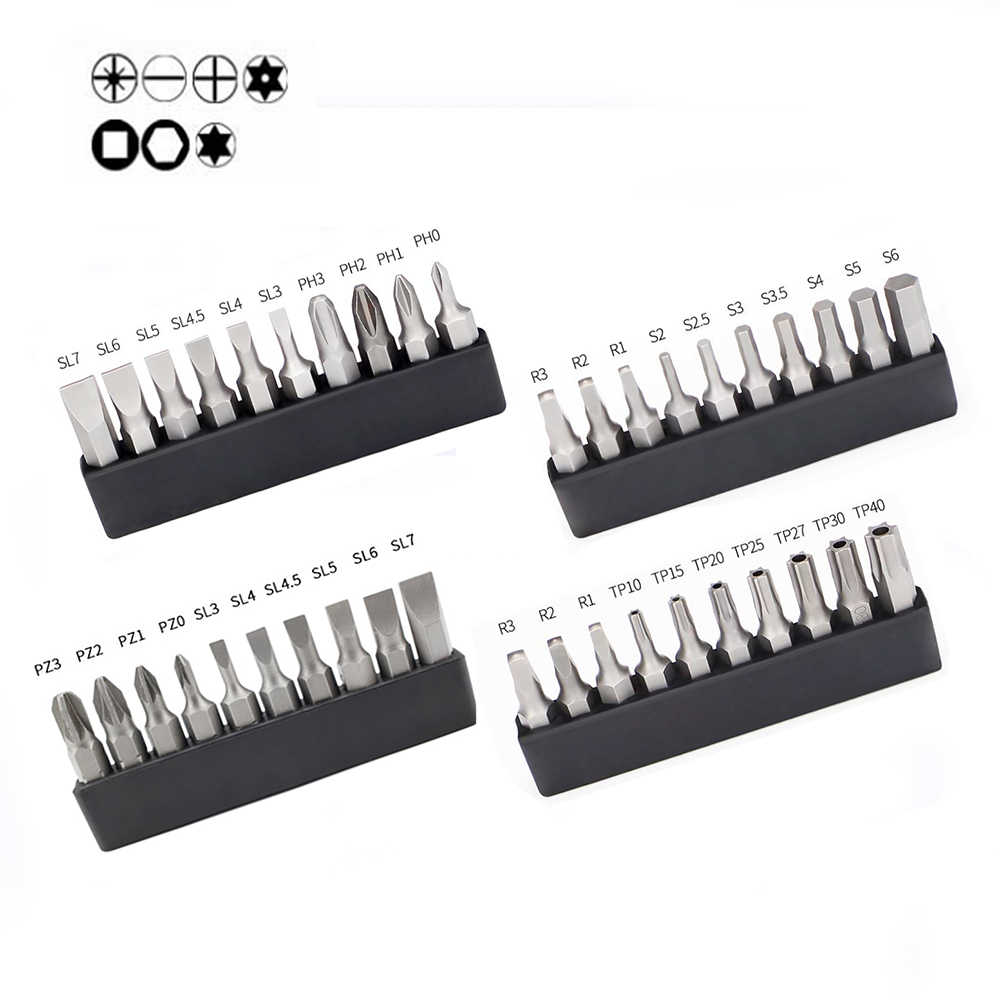 10 pcs/lot 25mm Pendek Obeng Bit 1/4 Hex Shank Bintang Torx Square Hexagon Phillips Slotted Screw Driver Bit Set dengan Pemegang
