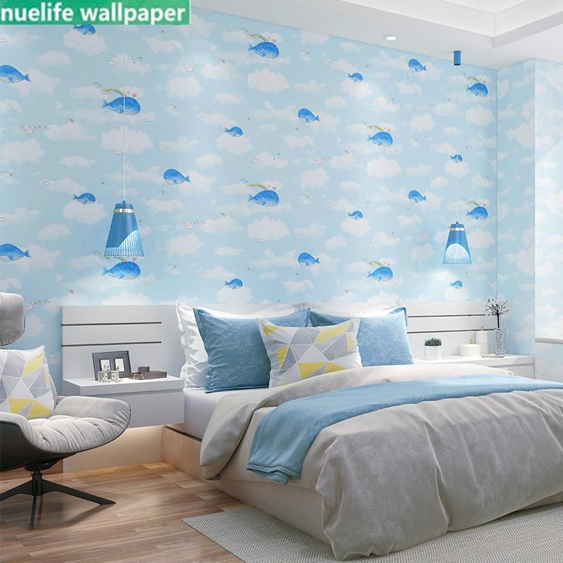 Cute Cartoon Whale Pattern Children S Room Wallpaper Baby Room Boy