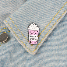 Pink ice cream Enamel Pin WITCH'S BREW badge brooch Lapel pin Denim Jeans shirt bag Cartoon Jewelry Creative Gift for Friends pink round ribbon enamel pin love gesture badge brooch girl rule boys drool denim clothes bag lapel pin jwewlry gift for friends