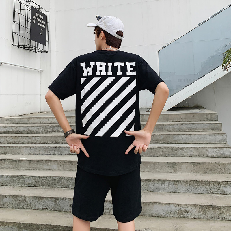 Summer Popular Brand Leisure Suit Short Sleeve T-shirt Men's Hip Hop Trend INS Loose-Fit Shorts Collocation Handsome Clothes A S