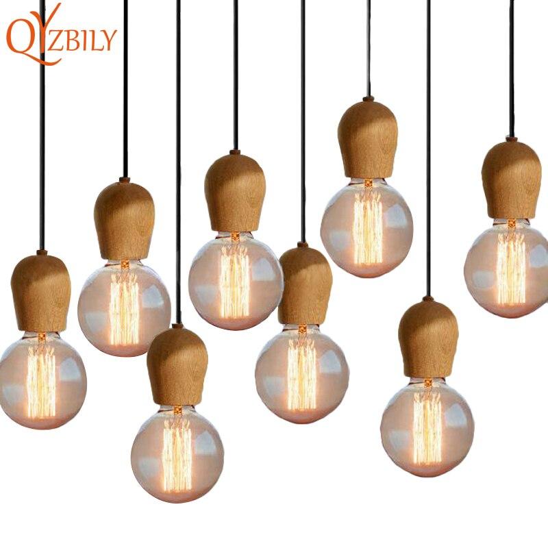 Llamba varëse Nordike Retro varëse druri lisi E27 Llambë varëse varëse varëse varere Llambë varëse shtëpie Ndriçimi shtëpiak Dhoma e ndenjes Luminaire Abajur Luster