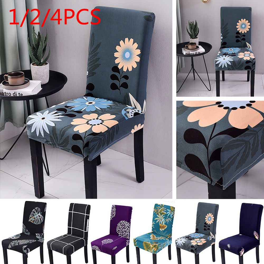 1/2/4pcs Floral Printing Chair Covers Home Dining Elastic Chair Covers Multifunctional Spandex Elastic Cloth Universal Stretch