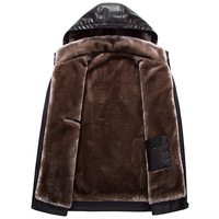 Yuanchuang Clothing Sent Winter Coat Brushed And Thick Men Hooded Leather Coat Men's Detachable Hat Dad Warm Winter Thick