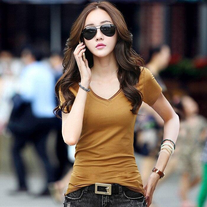 Весна/лето новая Корейская версия стройнящая простая Однотонная футболка с v образным вырезом и короткими рукавами Топ Женская мода