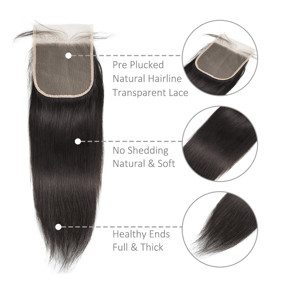 Bone Straight Hair 4x4 Swiss Lace Frontal Closure Pre Plucked  With Baby Hair   Products 3