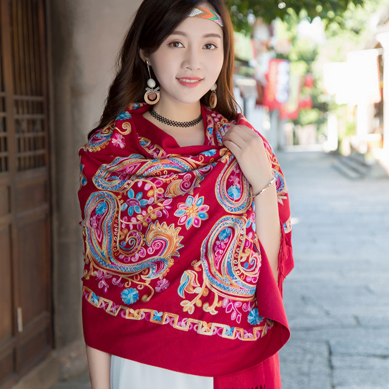 Chinese Style Cloak Embroidered Flower Multifunctional Women Scarf Oversized Cloak Shawl Long Dual-use Spring And Autumn