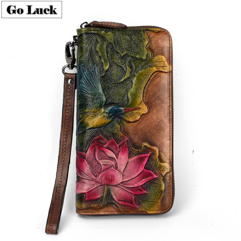 GO-LUCK Brand  Women Wristband Clutch Wallet Women's Long Zipper Cell Phone Wallets Ladies Purse Flower Engraved Genuine Leather