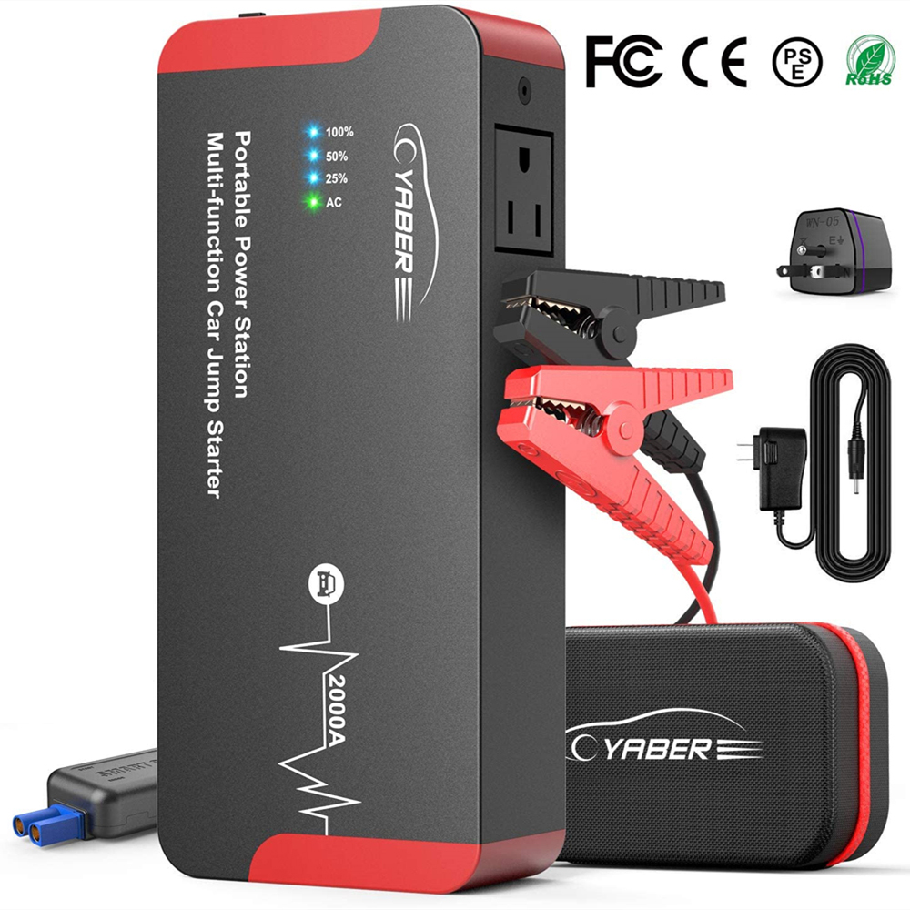 Yaber High Quality 2000A Jump Starter Emergency Car Jump Starter Battery Power Bank Auto Booster 22000mAh 100W AC Output