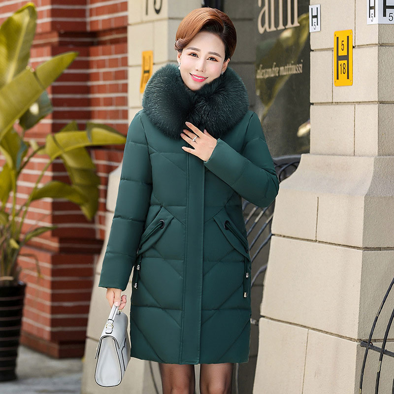Women Colorful Fur Collar Long Hooded Oversize Winter   Down     Coat   Thick Warm Jacket Cotton Padded Wadded Parkas 3D Big Pocket