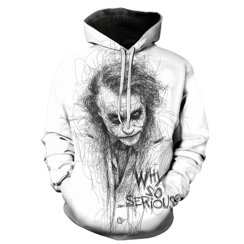 NEW White Joker Male Sweatshirts Mens Hoodies Hip Hop Streetwear Coat 3D Printing Hoodie Men Casual Funny Tracksuits Tops Joker