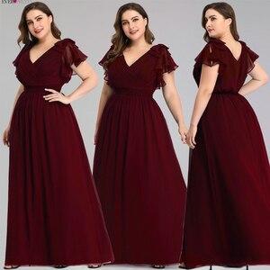 Image 5 - Artı boyutu abiye hiç Pretty A Line v yaka yay kısa kollu zarif lacivert örgün parti törenlerinde Vestido Noche Elegante