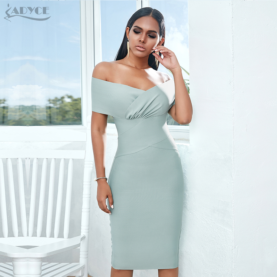 Image 3 - ADYCE New Summer Off Shoulder Bandage Dress Women 2020 Sexy Short