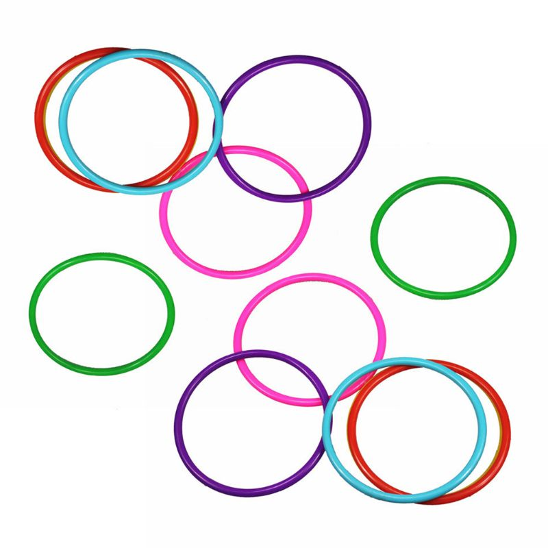 10 Pcs Plastic Toss Rings Multicolor Target Throw Games Props Kids Outdoor Games
