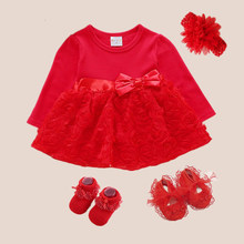Robe rouge enfant noeud princesse Style 1 an Robe de fete Bebe Fille 3 6 9 mois 1st Robe anniversaire Robe Bebe Fille(China)