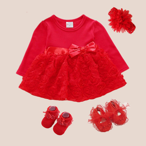 Red Infant Dress Bow Princess Style 1 Year Old Baby Girl Party Dress 3 6 9 Months 1st Birthday Dress Robe Bebe Fille(China)