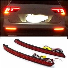 Para vw tiguan l 2017 2 pçs/set led carro traseiro pára refletor parar luzes de freio luz volta