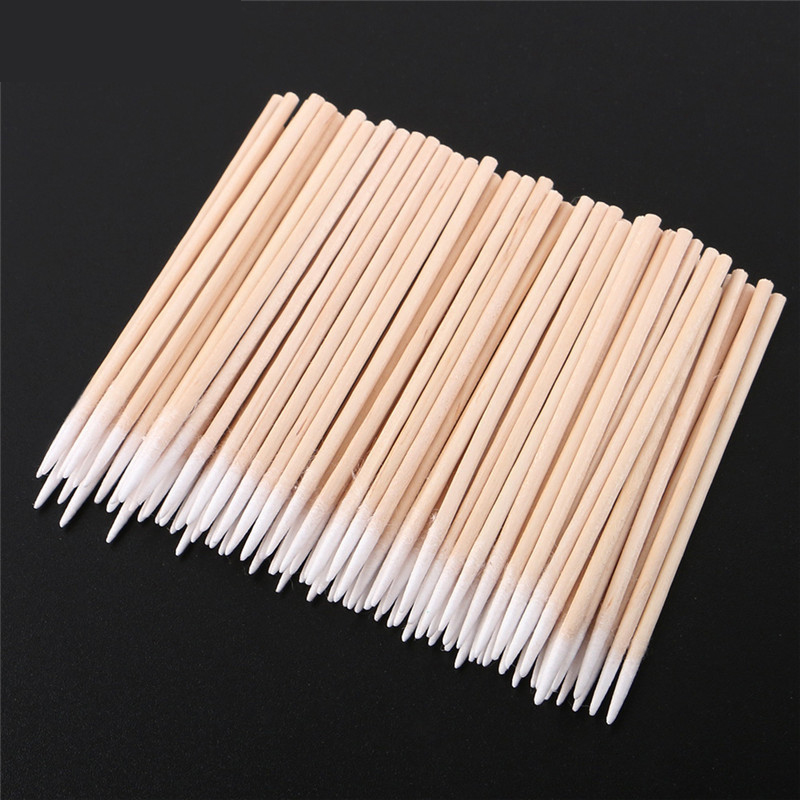 100PCS/Lot Wood Cotton Swab Eyelash Extension Tools Medical Ear Care Wood Sticks Cosmetic Cotton Swab Cotton Buds Tip