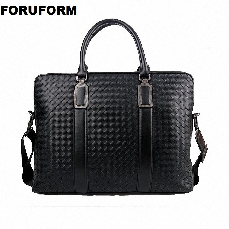 Weave Men's Genuine Leather Business Briefcase Casual Man Shoulder Bag Messenger Bag Male Laptops Handbags Men Travel Bag ZH-106