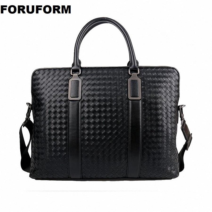Weave Men's Genuine Leather Business Briefcase Casual Man Shoulder Bag Messenger Bag Male Laptops Handbags Men Travel Bag ZH-106