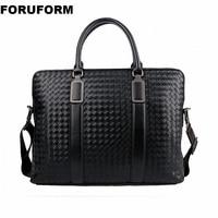 Weave Men's Genuine Leather Business Briefcase Casual Man Shoulder Bag Messenger Bag Male Laptops Handbags Men Travel Bag ZH 106
