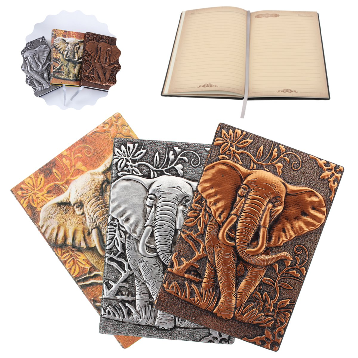 3Color S/L European Elephant Cover Notebook Vintage Travel Journal Notepad Relief Effect Cute Diary PU Leather Office Stationery