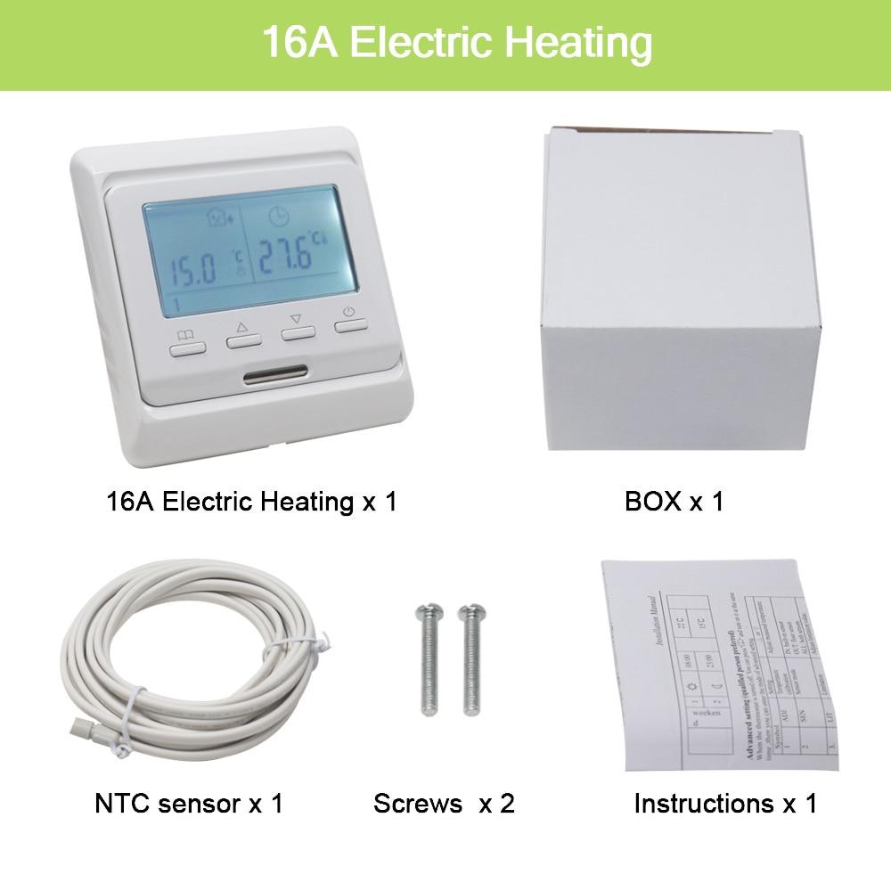 Digital 16A LCD Heizung Thermostat Raumthermostat Fußbodenheizung Weiß Backlight
