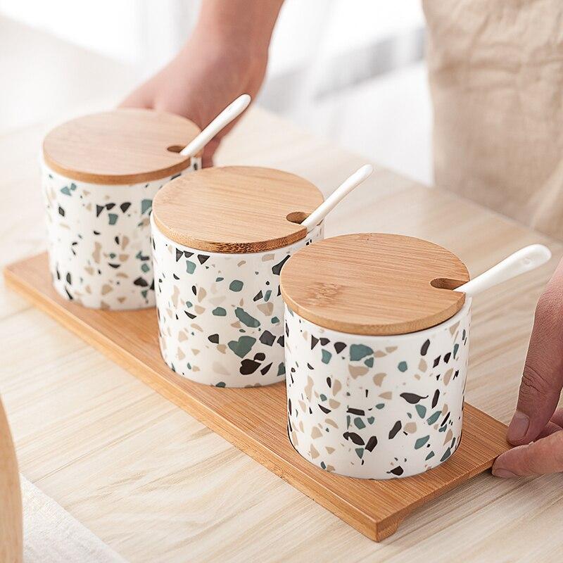 3PCS Ceramic Oil Salt Pot Ceramic Jar Seasoning Jar Set Nordic Home Kitchen Creative Terrazzo European Salt Sugar Seasoning Box