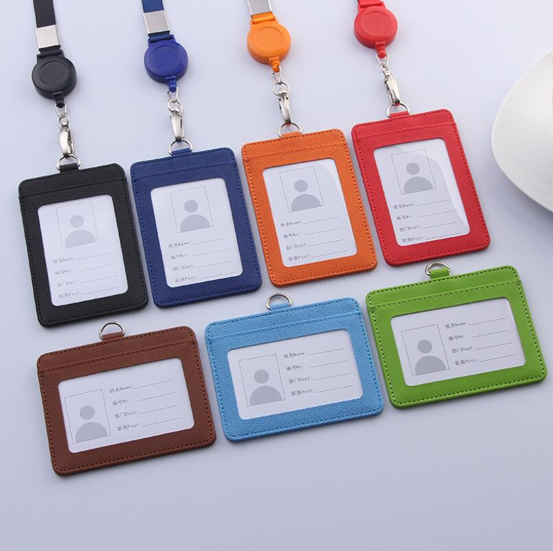 New Candy Color PU ID Card Holder With Retractable Badge Lanyard Office Supply
