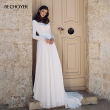 BECHOYER Simple Backless Wedding Dress 2020 Scoop Long Sleeve A Line Customized Train Bride Gown Illusion Vestido de Noiva AB46