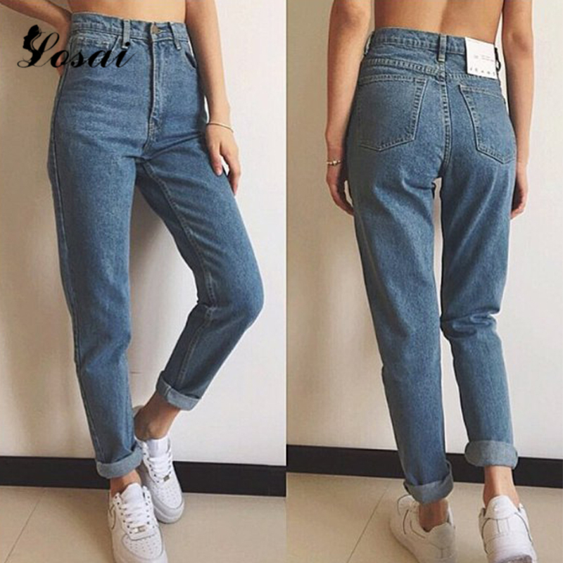 2019 nuevos pantalones de tubo ajustados Vintage Jeans de cintura alta nuevos pantalones de Mujer Pantalones largos sueltos de Mujer Vaqueros