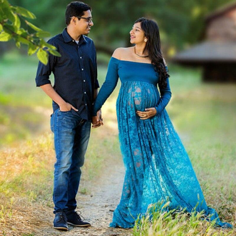 Robes de maternité élégantes pour Photo Shoot Sexy hors épaule grossesse photographie robe femmes enceintes fête Maxi robe vêtements