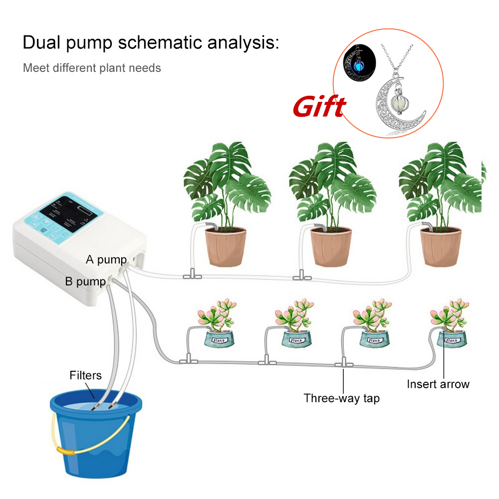 Intelligent Water Pump Solar Garden Automatic Watering Device Solar Energy Charging Timer System Potted Plant Drip Irrigation