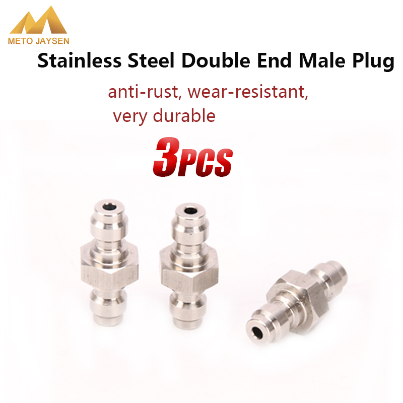 PCP Airforce Paintball Pneumatic Quick Coupling Air Filling Socket 8mm Stainless Steel Double End Male Plug Fill Nipple 3pcs/set
