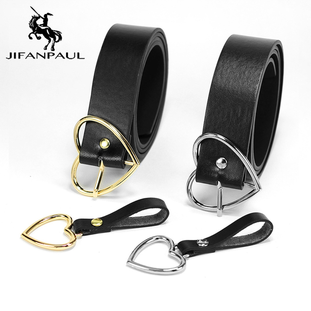 JIFANPAUL New sweetheart buckle with adjustable ladies luxury brand cute Heart-shaped thin belt high quality punk fashion belts
