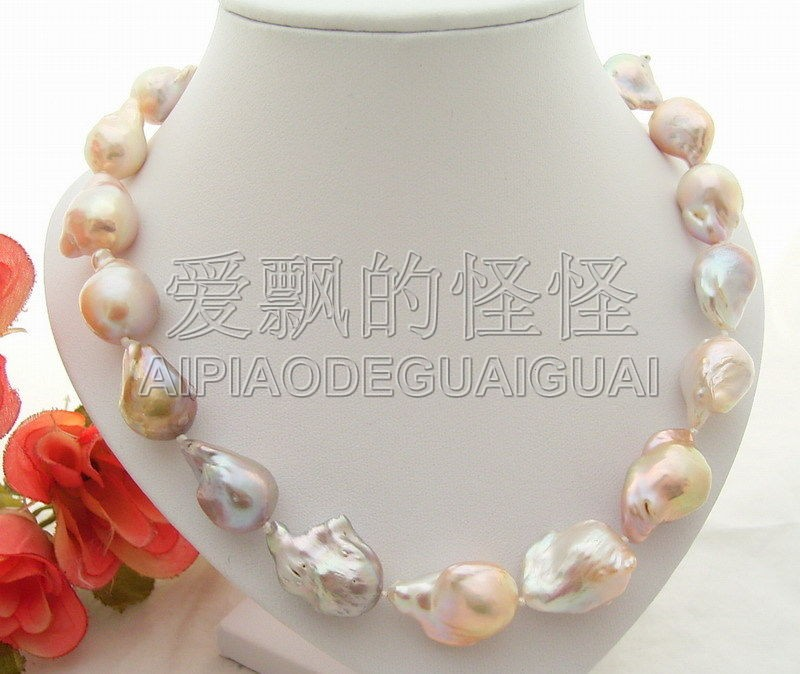 N072228 Natural 22mm AA Keshi Pearl Necklace-Silver Mabe Clasp