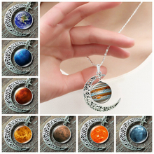2019 Nebula Galaxy Pendant Necklace Handmade Universe Planet Jewelry Charm Crescent Moon Silver Chain for Women Men