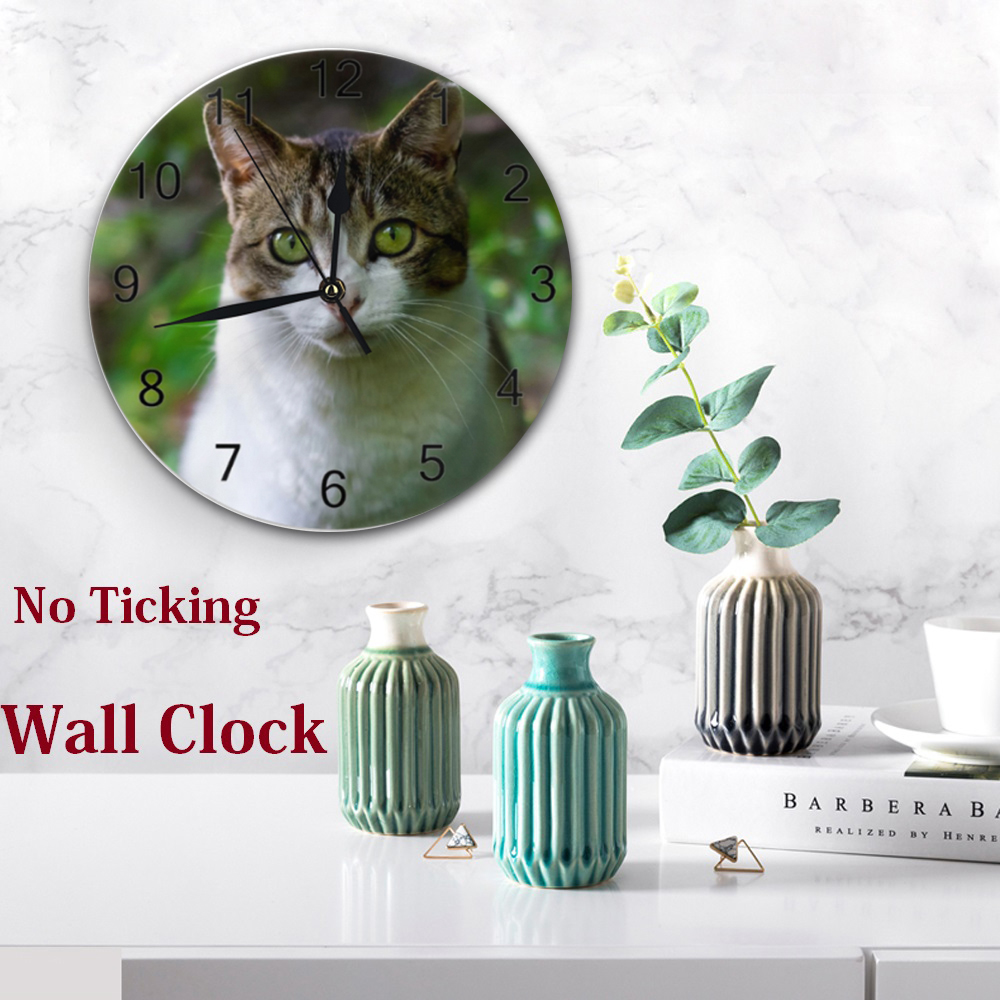 Lovely Cats 25CM Round Wall-Clocks Decor Numeral Digital Dial Mute Silent Non-Ticking Battery Operated Clocks For Bedroom Living