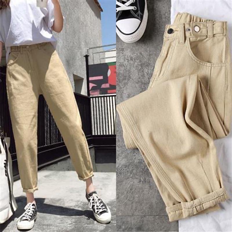 2020 New Women Streetwear Pleated Harem Jeans High Waist Loose Slouchy Jeans Pockets Boyfriend Pants Casual Ladies Denim pants
