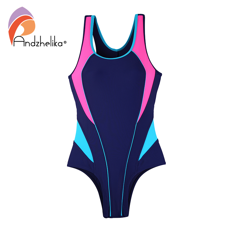 Andzhelika Children One Piece Swimsuit 2020 Sport Swimsuit Girls Swimwear Patchwork Bodysuit Kid Bathing Suit Child Monokini