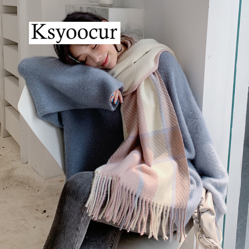 Size 200*70CM, 2020 New Autumn/Winter Long Section Cashmere Fashion Scarf Women Warm Shawls And Scarves Brand Ksyoocur E17