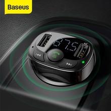 아이폰에 대 한 Baseus 자동차 충전기 핸즈프리 FM 송신기 블루투스 차량용 키트 LCD MP3 플레이어 듀얼 USB 차량용 충전기