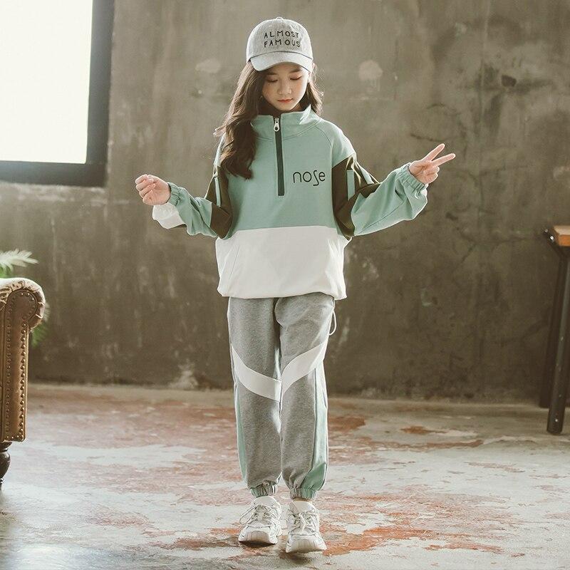 2021 Fashion Big Girls Sports Suits Semi-high Collar Letter Zipper Clothing Set Teenage Spring Autumn Tracksuit Kids Sportswear 2